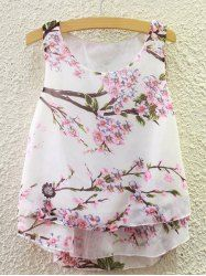 Sweet Scoop Neck Peach Blossom Print Tank Top For Women