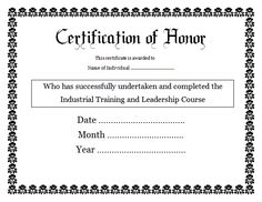 11 certificate of honor templates free printable word pdf