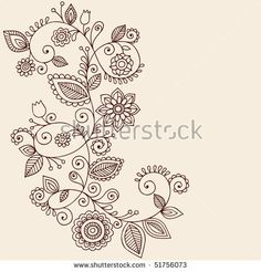 Hand-Drawn Abstract Henna Mehndi Vines and Flowers Paisley-Style Doodle Vector Illustration Design Element