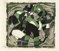 Ice Hockey, 1933, Lill Tshudi, colour linocut on paper, 28.5 cm. x 30.4 cm. wide printed surface, Vorticist style, England