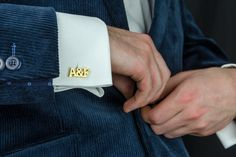 Groom cufflinks - Personalized cufflinks featuring the couple