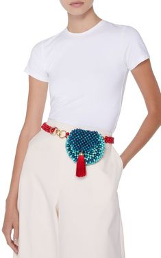 Rosanica joe Tassel belt via Moda Operadi Beaded Purses, Beaded Bags, Womens Fashion Online, Latest Fashion For Women, Look Fashion, Fashion Bags, Diy Vetement, Diy Handbag, Beaded Crafts
