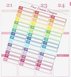 45 Meal Plan Mini Event Label Stickers for door FourDaisiesDesigns