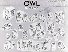 The owl in Sleeping Beauty was designed by Kahl based on rough sketches by Tom Oreb. By now the owl's appearance is a variation of an older theme. Fantastic stylization though.