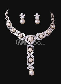 Grace Flower White Pearl Brides Wedding Jewelry Set. Earrings Size 2.8*1.2 cmPendant Size 9*1.5 cmChain Length 38-42 cm. See More Wedding Jewelry Sets at http://www.ourgreatshop.com/Wedding-Jewelry-Sets-C924.aspx