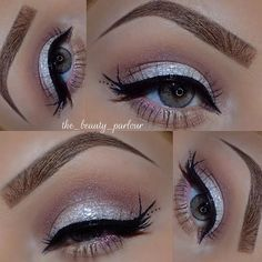 #silver glitter eye #makeup with detailed winged liner. soft pink crease & lower lashline. for christmas holidays | @the_beauty_parlour