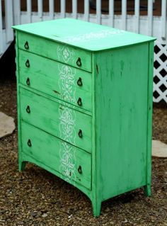 Ann Marie of the Twice Lovely blog uses an amazing green color and our Granada Border stencil vertically on a dresser. Fab!