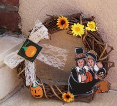Thanksgiving crown with pilgrims and turkey hanging the door. Thanksgiving, Pilgrims, Turkey, Crown, Wreaths, Boutique, Etsy, Decor, Lace Bows