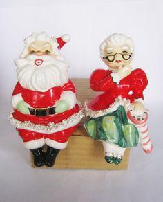 Vintage Christmas Lefton Santa & Mrs Claus Porcelain Spaghetti Trim Shelf Sitters Figurine Japan Ornament Decoration Lefton Figure by BrilbunnySelections on Etsy https://www.etsy.com/listing/265258513/vintage-christmas-lefton-santa-mrs-claus