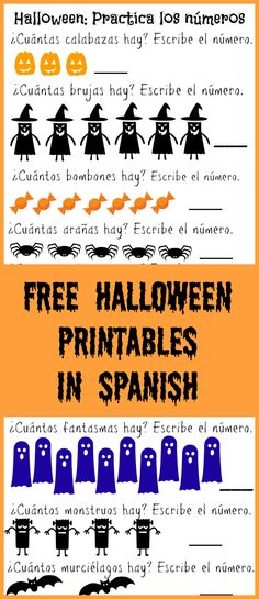 Free Halloween Printables in Spanish- practice vocabulary, colors and more!