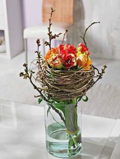 Twigs and tulips bouquet