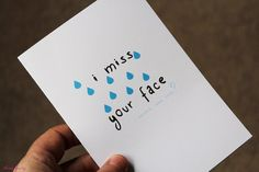 I Miss Your Face Card / Miss You Note Card / Long by ThreeForty, $5.00
