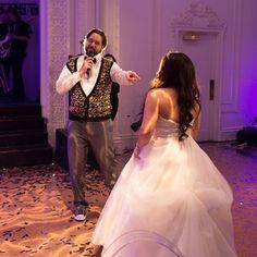 Groom serenading the bride