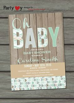 Rustic Baby Shower Invitation Mint Baby by PartyInvitesAndMore