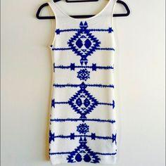 H&M Divided Blue & White Tribal Bodycon Dress