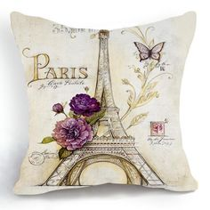 Retro Vintage Paris Eiffel Tower Floral Butterfly Home 18 X 18 Inch Cotton Linen Square Decorative Throw Cushion Cover / Pillow Sham Decorative Pillow Cases, Throw Pillow Cases, Decorative Throw Pillows, Pillow Covers, Decorative Accents, Cushion Covers, Pillow Shams, Paris Home Decor, Retro Home Decor