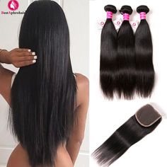 Aphro brazilské rovné vlasové svazky s uzávěrem Non Remy brazilské lidské  vlasy tkani 3 svazky s 8a4e1faeedf