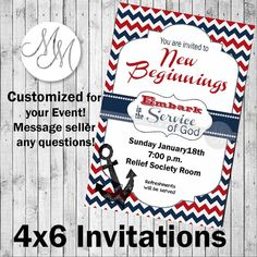 Embark in the Service of God New Beginnings Invitations- 4x6- Digital, printable file Nautical, Red White and Blue