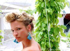 Tropical inspired #Larimar & Silk Earrings.  Theresa Alene for LEXYAiR I.N.C. #JEWELRY.  MUAH: DbyDesign: Daniel Escobar  Photographer: Alexandra Cook