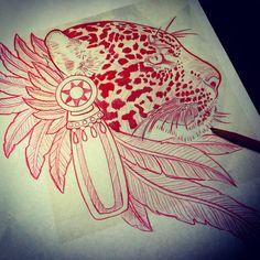 Aztec jaguar drawing