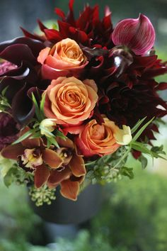 gorgeous fall hued bouquet of roses, dahlias, calla lilies & orchids All Flowers, Orange Flowers, My Flower, Fresh Flowers, Colorful Flowers, Wedding Flowers, Orchid Arrangements, Beautiful Flower Arrangements, Beautiful Flowers