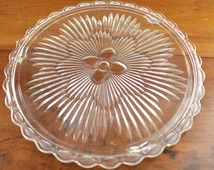 Vintage Footed Cake Plate - Floral Glass Cake Plate - Flat Round Dessert Cupcake Plate - Elaborate Flower Scalloped Cake Stand