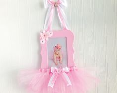 Pink Tutu Gift- Pink Tutu- Princess Wall Decor- Ballerina Nursery - New Baby Birth Announcement Frame - New Baby Picture Frame - Baby Girl by myOnceUponaFairytale on Etsy Ballerina Birthday Parties, Ballerina Party, Picture Frame Hangers, Ballerina Nursery, Baby Mini Album, Diy And Crafts, Crafts For Kids, Baby Frame, Baby Dress Patterns