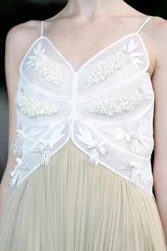 Panelled dress bodice with beaded embellishment & contrasting textures; fashion details // Delpozo Spring 2014
