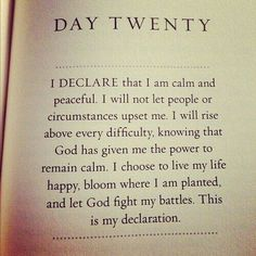 I declare that I am calm and peaceful...