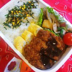 デザート付き♪ - 45件のもぐもぐ - 11月19日(水) 高1男子弁当 とんかつ、はんぺん入りきんぴらゴボウ、だし巻き玉子、ほうれん草とベーコンソテー、プチトマト、ひとくちプッチンプリン by Tomoko