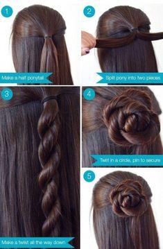 Easy step by step hair tutorial: rose bun Makeup Ideas Loading. Easy step by step hair tutorial: rose bun, Previous Post Next Post Chignon Rose, Rose Bun, Bun Updo, Easy Updo, Braided Updo, Simple Updo, Bun Braid, Simple Braids, Hair Simple