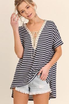 Navy Stripe Lace Up Short Sleeve Tee