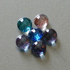 Glass Flat Marble Glitter Magnets - Rare Earth Magnet Used for Extra Strength!  Set of 6! by MagnetMenagerie on Etsy