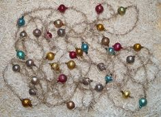 4 antike Tinselketten mit  Lauscha Glaskugeln - ca. 590 cm  (# 6847)