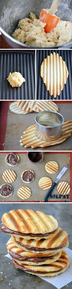 Scoop your cookie batter onto a panini press or waffle iron and cook. Cut the finished product into circles. Spread one circle with Nutella and top with another cookie. Make a lot - they won't last long.