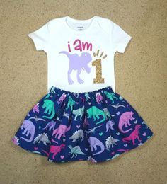 I Am One First Birthday Baby Girl Toddler Dinosaur Twirl Skirt Bodysuit Outfit Personalized Lavender Navy Cake Smash Dinosaur First Birthday, Baby Girl Birthday, Dinosaur Party, Birthday Ideas, 3rd Birthday, Elmo Party, Mickey Party, Birthday Wishes, Body Suit Outfits