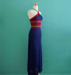 vintage 70's navy striped knit halter maxi dress by HarlowsVintage