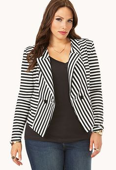 I want!! Mod Striped High-Cut Back Blazer | FOREVER 21 - 2000108250