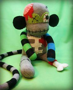 halloween sock monkeys   Zombie Sock Monkey Monster - Halloween Handmade Plush/Toy/Doll - Free ...