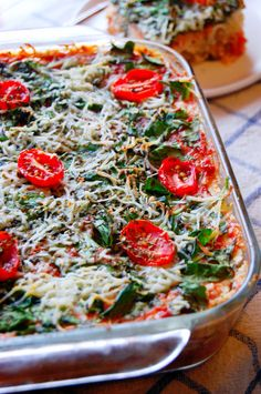 Vegetarian Spaghetti Squash Lasagna Casserole | UprootKitchen.com