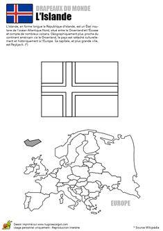 Ce dessin du drapeau de l'Islande est à colorier