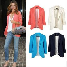 Casual Slim Solid Suit Blazer Jacket Coat Outwear Women Fashion Candy Color Hot in Clothing, Shoes & Accessories, Women's Clothing, Coats & Jackets | eBay