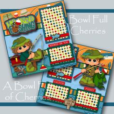 FISHING ~ boy girl 2 premade scrapbook pages 3D paper piecing layout ~ BY CHERRY #BowlFullofCherriesScrabpooking