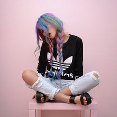 Now trending…Rainbow hair Pastel hair cut up jeans Dye My Hair, Pelo Multicolor, Coiffure Hair, Cooler Look, Rainbow Hair, Rainbow Braids, Crazy Hair, Pretty Hairstyles, Pigtail Hairstyles