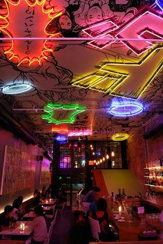 Located in NYC, Tokyo Bar is covered with Japanese Manga illustrations and neon . - Located in NYC, Tokyo Bar is covered with Japanese Manga illustrations and neon … Located in NY - Cafe Bar, Commercial Design, Commercial Interiors, Billard Design, Japanese Bar, Japanese Style, Karaoke, Bar Restaurant, Restaurant Interior Design
