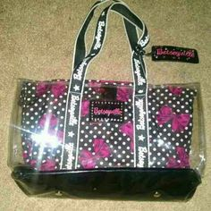Betsey Johnson shoulder tote Plastic with silky liner accented with bows Betsey Johnson Bags Totes