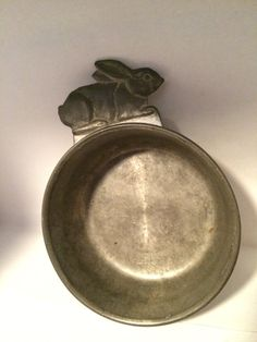 Vintage Woodbury Rabbit Pewter Porringer by SoaringHawkVintage