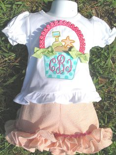 Beach Bucket Ruffle Shirt or Onesie by juliesonny on Etsy, $22.99