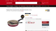 [PontoFrio.com] Frigideira Reta Tramontina Paris 20145722 Vermelha - 22cm 1956737 por R$ 50,57