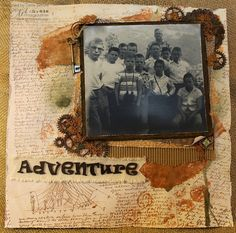 Adventure Layout with 7gypsies Serengeti Collection - black and white boys adventure photo - neutral scrapbook layout
